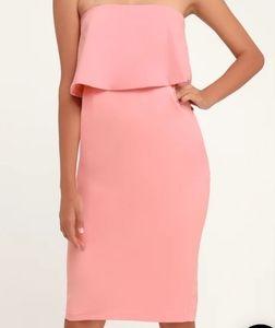 LULUS true pink strapless midi